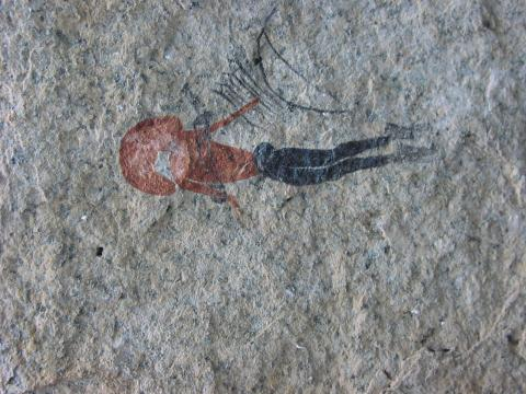 Painted bichrome human figure