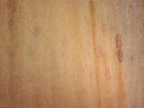 Painted monochrome handprints